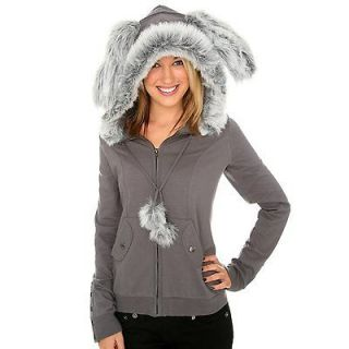Sweet Love Grey Bunny Rabbit Ears Faux Fur Hoodie Size X  Small From