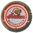 INDIAN MOTORCYCLES CLASSIC SUPER SIZE 17 INCH NEON WALL CLOCK   FREE