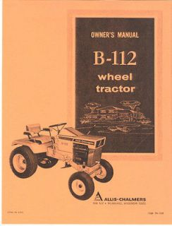 Allis Chalmers B 112 Garden Tractor Owners Manual AC