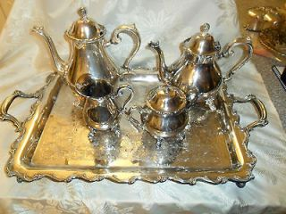 INTERNATIONAL SILVER SILVERPLATE TEA/COFFEE SET WEBSTER WILCOX JOANNE