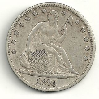VINTAGE HIGH GRADE 1876 LIBERTY SEATED SILVER HALF DOLLAR PIECE COIN