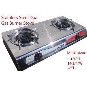 Portable Propane Double Burner Camping Gas Stove T Gate 2 LP