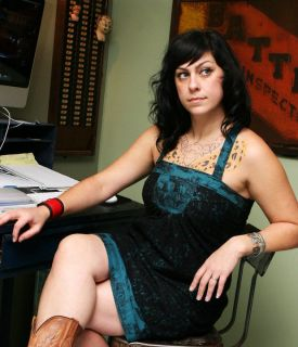 Sexy American Pickers Danielle Colby Cushman on Chair Refrigerator