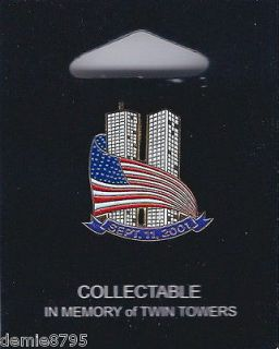 11 Sept.11 Dated Twin Towers American Flag Collectable Patriotic