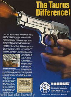 1994 TAURUS PT 100 .40 S&W PISTOL AD~Collectible Firearms ADVERTISING
