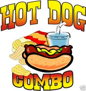 Hot Dog Combo Restaurant Concession Cart Food Decal 14