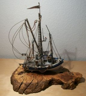 Very Intricate Metal Commercial Fishing Boat Sculpture. Signed Art