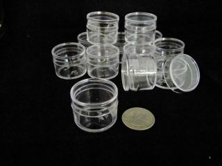 144 clear Plastic Boxes Round shape 1 inch diameter for contain small