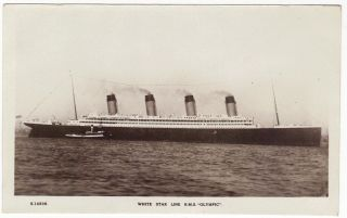 WHITE STAR LINE OLYMPIC & TUG DECORATED WITH FLAGS SISTER TITANIC WHS