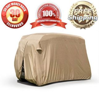 PASSENGER BEIGE GOLF CART STORAGE COVER ZIPPERED REAR + AIR VENTS