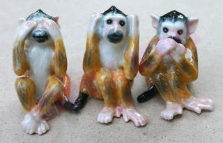 Figurine Wild Animal Ceramic Statue 3 Monkey No Evil