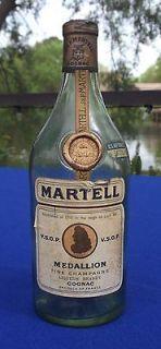 VINTAGE J & F MARTELL V.S.O.P. MEDALLION COGNAC BOTTLE