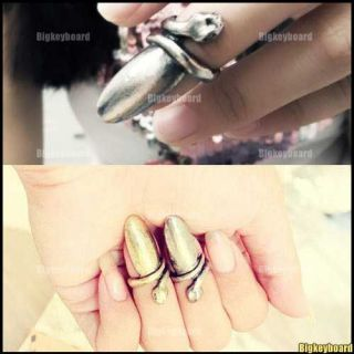 Fashion Cool Punk Vintage Nail Snake Ring Silver/Bronze Color