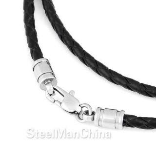 11 29 Genuine Leather Cord Stainless Steel Clasp Men Necklace Chain