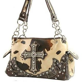 Brown Cow Animal Print Rhinestone Crystal Cross Western Cowgirl Purse