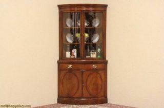Drexel Curved Glass Vintage Mahogany Corner Cabinet