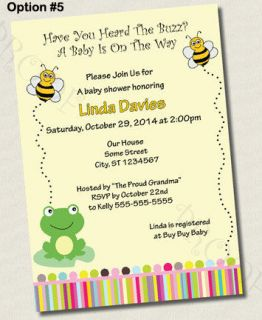 Printed BUMBLEBEE FROG baby shower birthday party invitation TWINS