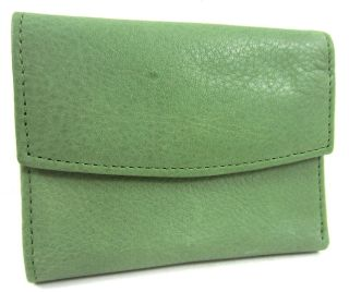 Kiwi Green Leather Zip Back Midi Mini Small Coin Purse Wallet