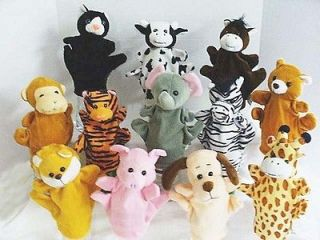 12 Hand Puppets Farm Animals zebra dog monkey pig cow horse cat bear