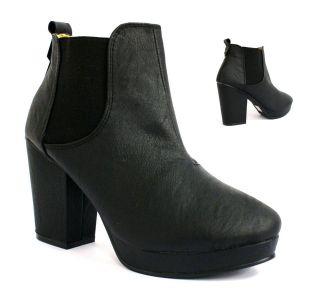 91W WOMENS LADIES BLACK ANKLE HIGH HEEL PLATFORM CHELSEA BOOTS SHOES