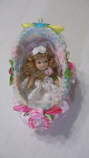 Cradle/Crib/bed+Pillow baby ooak/re born/Barbie dolls hand Gift PARTY