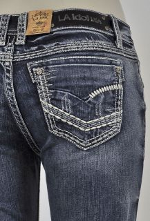 Idol Boot Cut Jeans with White stitching and Pattern Design. SZ 0 15
