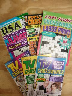 Lot of 6 assorted paperback Crossword Puzzle Books Easy, Tv, USA