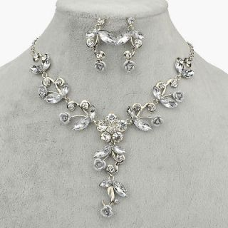 Wedding Party Crystal Earring Bracelet Necklace Ring Jewel Set A1812K