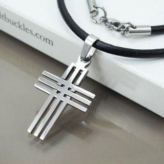 Chrome Matrix Gothic Mens Womens Cross Pendant Black Leather Necklace