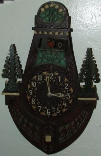 1800s Carved German Black Forest Cuckoo Folk Art Wall Clock; Germany