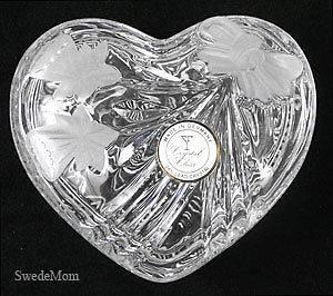NEW German Lead Crystal Heart Trinket Box ANNA HUTTE BLEIKRISTALL
