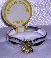 Genuine Faceted Oval Citrine .925 Sterling Silver Ring Size 7.5