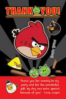 ANGRY BIRDS Printable THANK YOU Card NOTE File Matches Birthday Party
