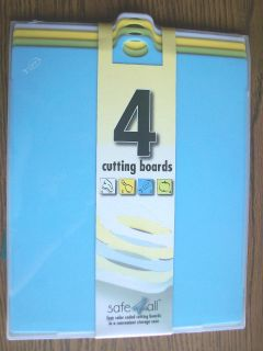 4pc Set Pastel CUTTING BOARDS w/ Storage Case * SAFE * Meat Poultry