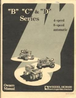 WHEEL HORSE B 81 B 111 GARDEN TRACTOR OWNERS MANUAL