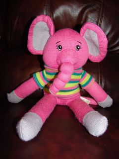 Dan Dee Collectors Choice Pink Elephant Wearing a Sweater Sock Doll