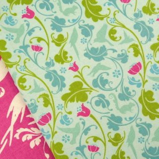 delights flora fauna duck egg fabric/ bird squirrel floral rococo