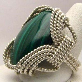 Hand Made Wire Wrapped Malachite Sterling Silver Ring