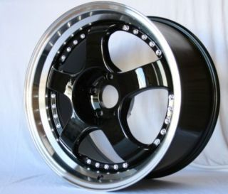 ROTA D2 17X7.5 5X114.3 E45 BLACK ROYAL LIP RIM WHEELS
