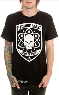 NEW Call Of Duty Black Ops Zombie Labs T Shirt Black White Tee Skull