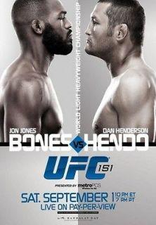 UFC 151 MINI POSTER JON BONES JONES vs DAN HENDO HENDERSON