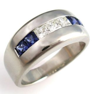 mens sapphire and diamond ring in Mens Jewelry