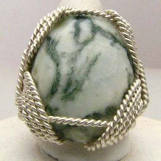 Wire Wrapped Tree Agate Sterling Silver Ring