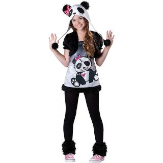 Preteen Child Girls Panda Bear Animal Hood Hoodie Halloween Costume