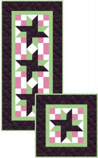 Crossroad TABLE RUNNER QUILT KIT  RJR pink, green, brown   cut and