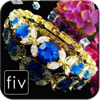 ~4MM BLUE SAPPHIRE TOPAZ 18K YELLOW GOLD PLATED TENNIS BRACELET *TQ