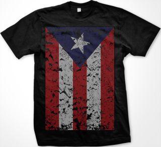 Puerto Rico Faded Flag Mens T shirt Rican Baseball Olympic Games Sport