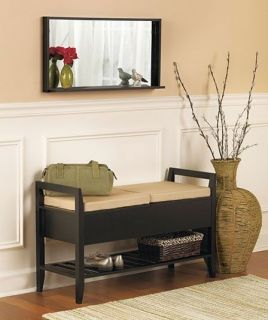 Decorative Bench Seat Cushions in Walnut Entryway Storage