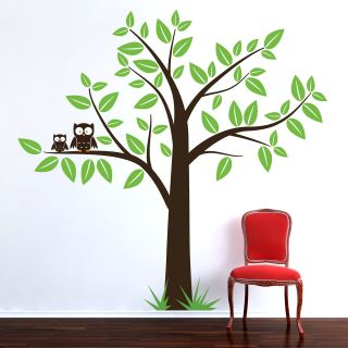 LARGE TREE WITH OWLS WALL ART STICKER DECAL NURSERY BABY ROOM