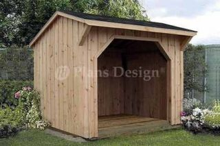 Firewood Storage Shed Plans, Saltbox Roof 70808